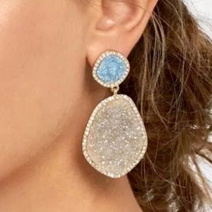 Anthropologie Moonlight Drop Druzy Quartz Earrings